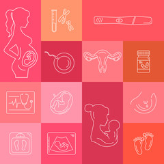 Medicine and pregnancy vector line icon