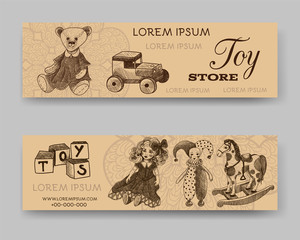 Website banner or header set. Toy store. Template for design. Doll, cubes, jester, teddy bear, wooden car, rocking horse