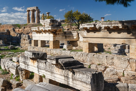 Ruins of the ancient city of Corinth, Greece