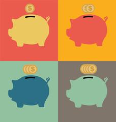 Colorful Piggy Bank Icon