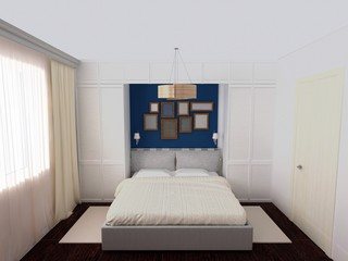 Rendering of white and blue bedroom with variety frames on wall, wardrobe hardwood floor