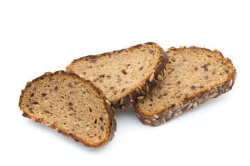 Rye bread isolated on white background.