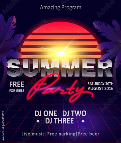80s Summer Party Flyer Template Invitation Poster Banner