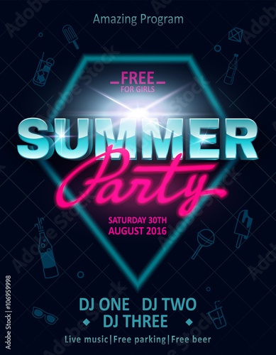 80s Summer party flyer template invitation. Summer party poster ...