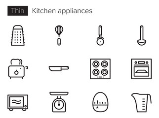 Kitchen appliances Vector icons set