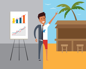 Business man at work and on vacation. Flat vector illustration.