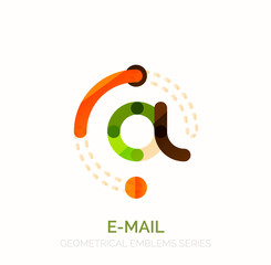 Vector email business symbol, or at sign logo. Linear minimalistic flat icon design