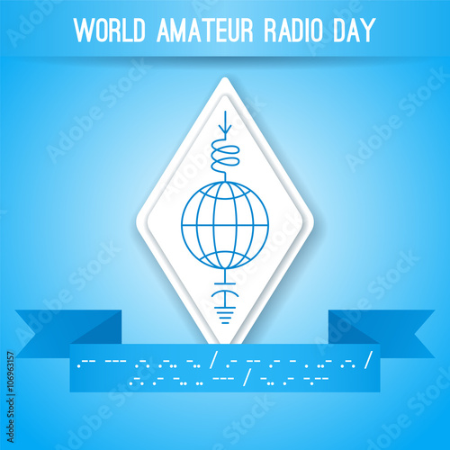 World Amateur Radio Day. Blue and white vector illustration ... on inductor circuit symbol, relay circuit symbol, alternator circuit symbol, clock circuit symbol, diode circuit symbol, potentiometer circuit symbol, led circuit symbol, circuit breaker circuit symbol, amplifier circuit symbol, light bulb circuit symbol, transformer circuit symbol, fuse circuit symbol, power circuit symbol,
