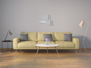 Modern lime interior with grey wall