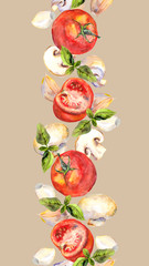 Patterned background with vegetarian vegetables: tomatoes, mushrooms, garlic and basil
