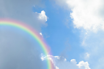 Blue sky cloud with rainbow