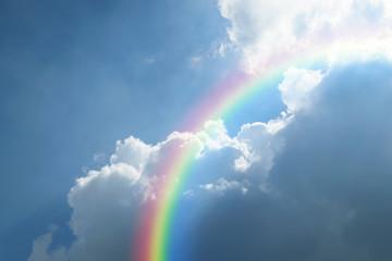 Blue sky cloud with rainbow