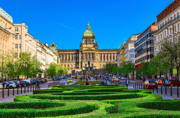 Spoed Fotobehang Praag Wenceslas square and National Museum in Prague, Czech Republic