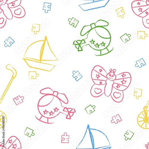 Seamless Pattern Childrens Color Crayon Drawings On White Background Hand Drawn Style