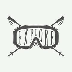 Vintage winter sports logo, badge, emblem and design elements