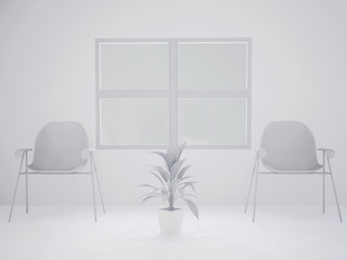 abstract composition, window and chairs, plant,