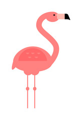 Cool pink decorative flat lovely and beauty flamingo exotic zoo animal vector illustration.