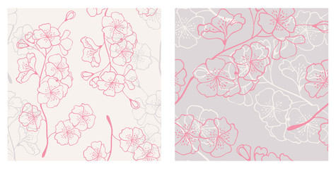 set of spring seamless patterns. floral backgrounds with sakura branches
