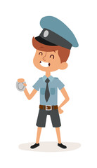 Cute cartoon character of policeman boy in uniform, cap and badge hands cop vector.