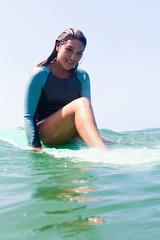 Young woman in sea, Hermosa Beach, California, USA