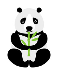 Cartoon panda sitting and eating bamboo animal bear funny vector.