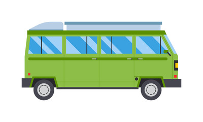 Vector illustration with green bus road travel transport.