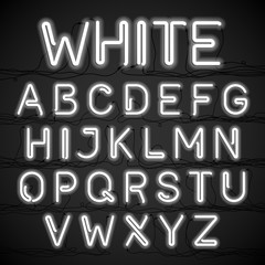 White neon light alphabet with cable