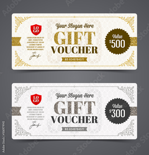 Gift voucher template with glitter gold and silver vector gift voucher template with glitter gold and silver vector illustration design for invitation yadclub Image collections