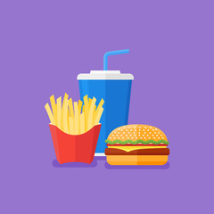 Fast food. Hamburger, french fries and soda takeaway. Flat style vector illustration.