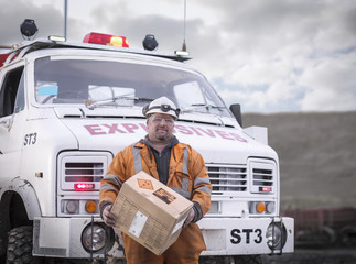 Portrait of explosives expert in surface coal mine