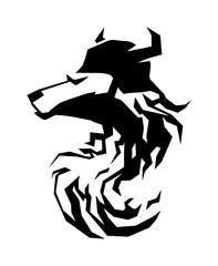 Wolf head tribal art tattoo emblem vector.