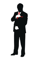 silhouette of businessman putting card in pocket