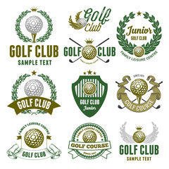 Set of Emblems, Logos and Labels on Golf Theme and for Golf Club. Colored Vector Illustration. Isolated on White Background.