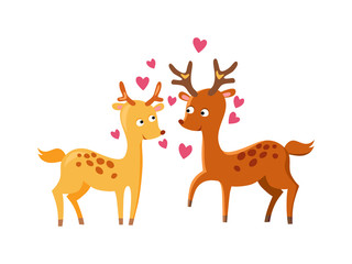 Lovely deers falling in love nature cute animal vector.