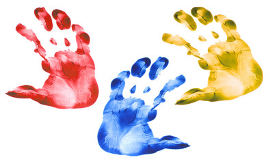 Kid hand prints colorful set isolated on white background. Many fingerprint or stamp texture artwork of kids for education and journey. Bottom view. Close up.