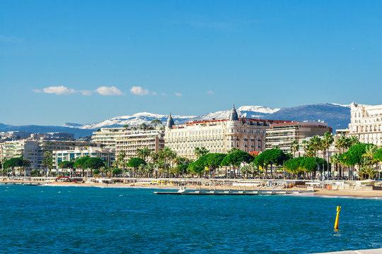 Panoramic view, Promenade de la Croisette, the Croisette and Port Le Vieux of Cannes, France Cote d'Azur
