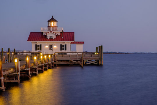 The Roanoke Marsh Lighthouse at Sunset