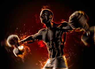 Closeup of a handsome bodybuilder with burning dumbbells. 3d ill