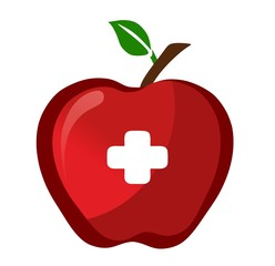 red apple with a pharmacy sign