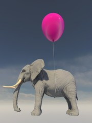 Elephant being lifted by a balloon