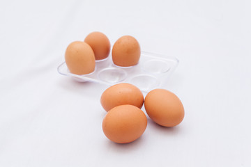 Fresh eggs in the box