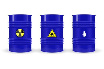 Metal barrels. Blue labeled containers
