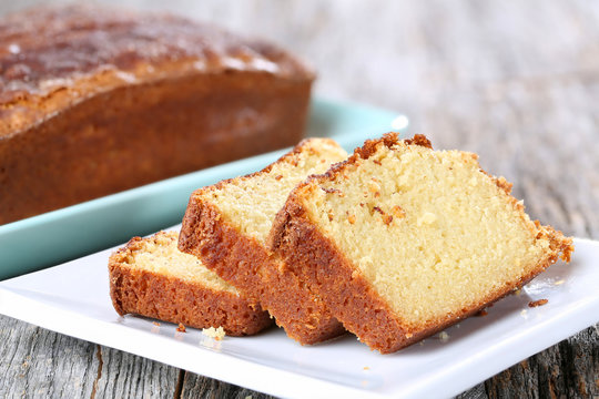 Homemade Pound Cake on rustic table top