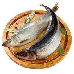 salted herring with pepper and bay leaf on wooden board