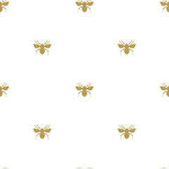 seamless pattern, silhouette golden bee on a white background