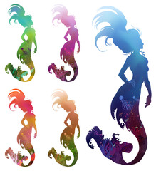 Colorful set of mermaids: coral reef in silhouette, seabed, ... Hand drawn vector illustration.