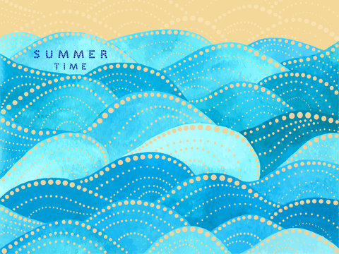 Blue writing summer time on yellow background with watercolor waves ornament - vector illustration