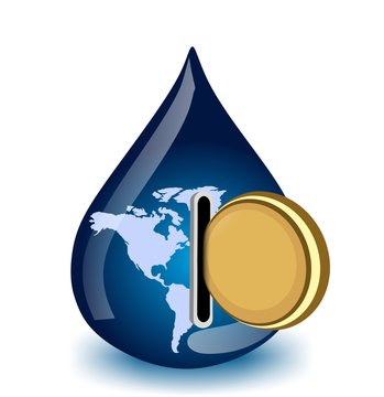 water drop with coin - water price in the world