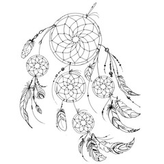 Dreamcatcher, Set of ornaments, feathers and beads. Native american indian dream catcher, traditional symbol. Feathers and beads on white background. Vector decorative elements hippie.