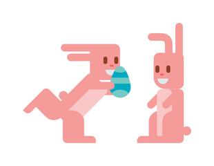 Greeting card Easter rabbit vector illustration
